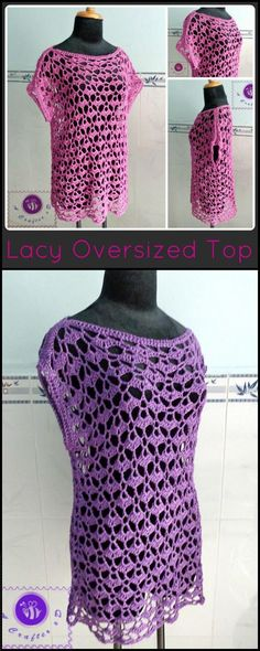Crochet Lacey Oversize Top - 50  Quick