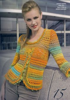 Crochet colorful sweater with diagrams