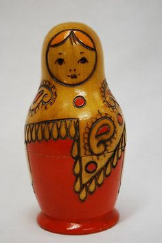 Rare Vintage Russian Nesting Doll Matryoshka Folk Art Wood Wooden Figure Toy Box