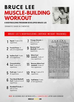 The Bruce Lee Bodybuilding Workout is a weight training routine that encapsulates basic but fundamental bodybuilding exercises. Shortly after picking up bodybuilding in the early Bruce Lee tested and formulated his own bodybuilding routine. Bruce Lee Training, Karate Training, Weight Training Workouts, Gym Workout Tips, Weight Training Programs, Yoga Workouts, Fitness Exercises, Workout Outfits, Interval Training