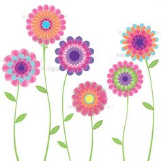 Pink Flowers Spring Flowers Decoration Clipart Clip Art Flowers Scrapbook Embellishment DIY Labels Tags Invites 10042. $4.70, via Etsy.
