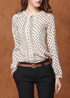 Chic Polka dots Design Long Sleeve Chiffon Top