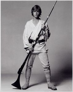 He's probably about to shoot some womp rats back home in his T-16. Luke rocks
