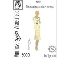 1930's Sleeveless sailor dress B35 VSV 30001 PDF | Etsy