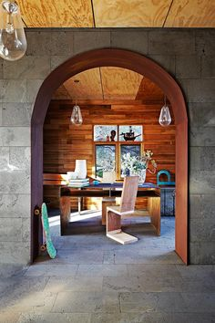 Study with copper-clad archway and handmade timber office chair.  | Photo: Armelle Habib | Story: Real Living