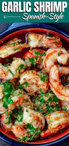 BEST Spanish garlic shrimp recipe (gambas al ajillo)! Ready in 10 minutes! Juicy large shrimp, swimming in a flavor-packed garlic and olive oil sauce. Just add crusty bready to sop up all the sauce! Grab the recipe and tips today! Baked Shrimp Recipes, Fish Recipes, Seafood Recipes, Appetizer Recipes, Vegetarian Recipes, Cooking Recipes, Spanish Shrimp, Shrimp Al Ajillo Recipe, Garlic
