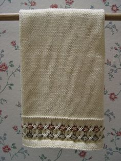 Thrill your guests or brighten your kitchen with this soft, organic, easy-care hand or dish towel, using an unusual stitch pattern from Nicky Epstein's Knitting Over the Edge. The pattern can be easily adapted to any worsted weight cotton yarn.