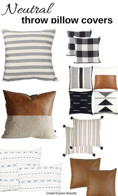 Hello friends, Lately I was introduced to the idea of buying throw pillow covers to update any old pillows I have lying around my home. Neutral Pillows, Boho Pillows, Diy Pillows, Decorative Pillow Covers, Throw Pillow Covers, Throw Pillows, Cushion Covers, Modern Farmhouse Bedroom, Home Decor Ideas