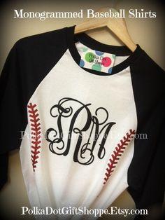 Monogrammed Baseball T Shirts, Baseball Mom's, Softball TShirts, Baseball Shirt, Monogrammed Softball Shirt on Etsy, $27.00