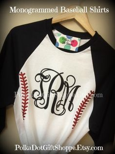 Monogrammed Baseball T Shirts, Baseball Mom's, Softball TShirts, Baseball Shirt, Monogrammed Softball Shirt on Etsy, $27.00