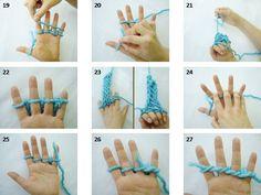 AquarElas: Fazendo um cachecol - Tricô de dedos
