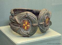 Celtic cast bronze armlet with enamel, 1st to 2nd c. CE, Castle Newe, Strathdon, Aberdeenshire, BM P 1946 4-2 1-2