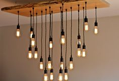 LARGE Live-Edge Maple Chandelier with Edison bulbs. Industrial/ Contemporary/ Rustic