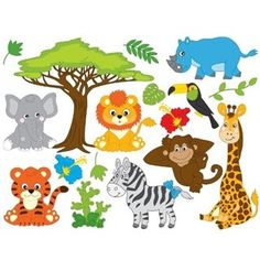 Jungle Animals Clipart - Digital Vector Safari Animals, Jungle Animals Clip Art for Personal and and Commercial Use Clipart Baby, Jungle Clipart, Baby Shower Clipart, Safari Animals, Baby Animals, Jungle Safari, Jungle Cartoon, Cartoon Kids, Animal Cutouts