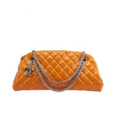 Chanel Bowling Mademoiselle Orange Quilted Patent Leather Shoulder Bag | From a collection of rare vintage shoulder bags at https://www.1stdibs.com/fashion/handbags-purses-bags/shoulder-bags/