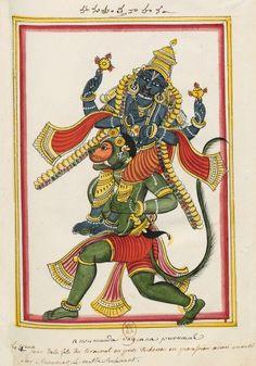 Vishnu porté par Hanuman. Album de 200 illustrations des Dieux des Indiens. Par le brahmane Svami, peintre Madras, 1780