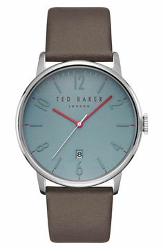 Main Image - Ted Baker London Thomas Leather Strap Watch, 42mm