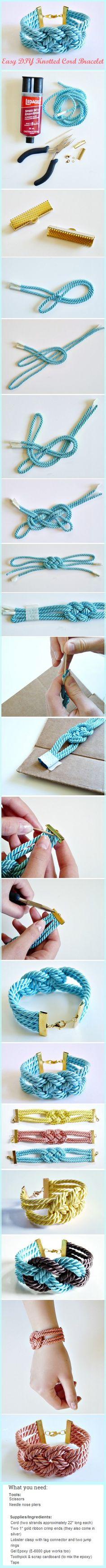 Easy DIY Knotted Cord Bracelet  http://dans-le-townhouse.blogspot.ca/2013/05/easy-diy-knotted-cord-bracelet.html