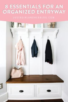 Create an organized entryway that's both practical and beautiful so that entering and leaving the house can happen quickly and easily! | #organizedentryway #entrywayorganization #organizedentry #entryorganization Entry Organization, Organization Hacks, Organization Ideas, Household Organization, Organizing Tips, Organising, Cleaning Hacks, Wood Router, Wood Lathe