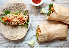 Sweet Chili Chicken Wraps: Simmered and shredded chicken in a sweet chili sauce with crunchy veggies and fresh lime. The perfect wrap for dinner!