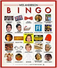 Wes Anderson Bingo 6