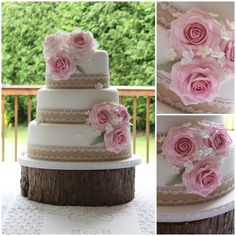Rustic roses wedding cake with hessian and lace www.facebook.com/TiersTiaras
