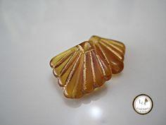 Tsjechisch glas Amber Art Deco Fan Gold Fan Tsjechische Amber Tsjechische glas Art Deco Fan Amber gouden Tsjechische glaskralen 17mm (4 stuks) 7V6