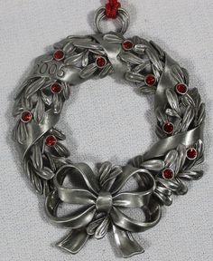 Pewter 2005 Avon Wreath Christmas Tree Ornament in Home & Garden | eBay