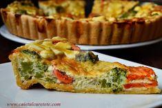 Tarta cu legume - CAIETUL CU RETETE Vegetable Recipes, Vegetarian Recipes, Cooking Recipes, Healthy Recipes, Healthy Food, Quiches, Romanian Food, Vegan Burgers, Summer Recipes