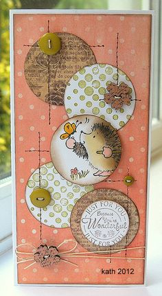 I love everything about this card! Great layout, circles, stitches, buttons, and patterns!