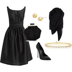 simple black dress and pearls.