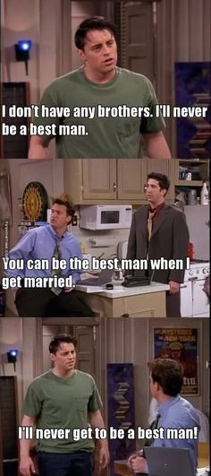 Friends - Phoebe is tired of being pregnant and experiencing major mood swings. Ross chooses Joey as his best man. Friends Funny Moments, Friends Episodes, Friends Tv Show, Funny Memes, Jokes, Hilarious, Joey Tribbiani, Himym, Friend Memes