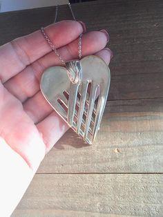 Heart pendant. fork pendant spoon jewelry silverware
