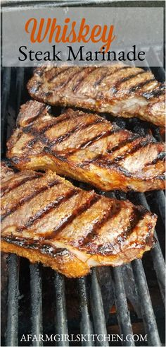 Whiskey Marinated Steak is the best marinade for steak. The flavor is incredible and caramelizes when it's grilled. #grilledsteak #grillingrecipes #steakmarinade #marinade #steakrecipe #easyrecipe Steak Marinade For Grilling, Steak Marinade Recipes, Marinated Steak, Grilling Recipes, Beef Recipes, Grilled Beef, Easy Recipes, Summer Recipes, Steak Rubs