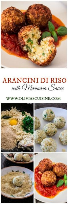 Arancini Di Riso with Balsamic Vinegar and Caramelized Onions Marinara Sauce | http://www.oliviascuisine.com | These risotto balls stuffed with cheese are an easy and delicious Italian antipasto! The recipe includes a basic parmesan risotto recipe, but you can absolutely use leftover risotto.