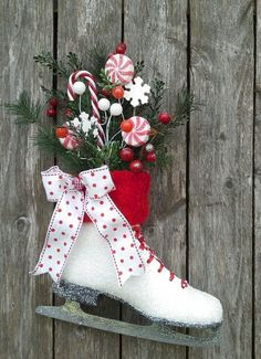 items similar to ice skate christmas ice skate wreath wall decor door