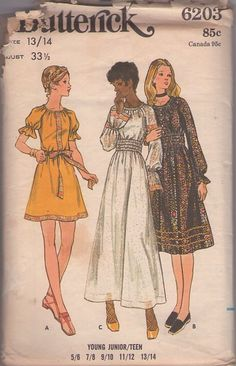 MOMSPatterns Vintage Sewing Patterns - Butterick 6203 Vintage 70's Sewing Pattern DREAMY Bohemian Elastic Smocked Waist Peasant Maxi Gown, Gypsy Babydoll Band Trim Dress