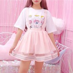 """Japanese Kawaii Braces Skirt SE11247 Use coupon code """"cutekawaii"""" for 10% off #skirt #skirts #pink #pastel #clothing #clothes #ootd Pastel Outfit, Pastel Goth Outfits, Pink Outfits, Mode Outfits, Fashion Outfits, Pastel Goth Style, Pastel Goth Clothes, Pastel Skirt, Pink Clothes"""