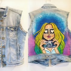 Customized denim jacket became vest. Be bold hand painted. More orders, more fun✨