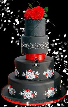 Black & Red Wedding Cake Love the white embroidery on black fondant