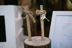 Vintage Log Wedding Guest Book Pens & Holder