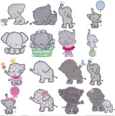 Elephants Applique is an absolutely adorable set of elephant applique designs that are sure to please Primitive Embroidery Patterns, Applique Embroidery Designs, Applique Patterns, Craft Patterns, Quilt Patterns, Home Embroidery Machine, Baby Gifts To Make, Elephant Applique, Little Elephant