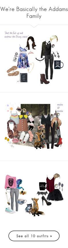 """We're Basically the Addams Family"" by secretly-a-fangirl ❤ liked on Polyvore featuring goth, HemlockGrove, Curiology, M&Co, Current Mood, Killstar, Forever 21, cute, dresses and Chicnova Fashion"