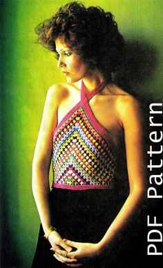 Vintage 70's Crochet Halter Top PDF Pattern  by KinsieWoolShop, $3.20
