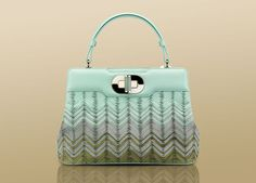 "Bulgari ""Isabella Rossellini"" large handbag in multi green lace chevron calf leather"