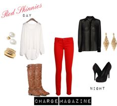 """Red Skinnies for the Holidays"" by chargemagazine on Polyvore"