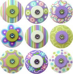 PINK and TURQUOISE Set of 8 DoTS and FLoWERS Hand Painted Drawer Knobs