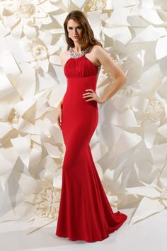 Sparkle 2013 Red Halter Sequin Ruched Stretch Jersey Prom Dress 71140 | Promgirl.net