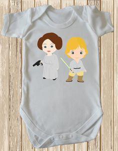 Princess Leia and Luke Skywalker Cutest Baby Bodysuit Star wars Baby Romper by Retrostate -Luke Skywalker baby Princess Leia baby