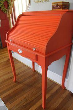 LA LA land: desk, playroom, and lots of orange stuff Orange Desks, Orange Rooms, Orange Is The New, Green And Orange, Orange Color, Orange Furniture, Painted Furniture, Small Roll Top Desk, Desk Makeover